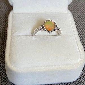 Vintage Floral Opal Engagement Ring
